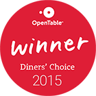 Open Table Winner Diner's Choice - 2015